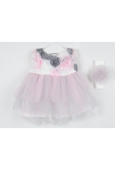 Serkon Kız Bebek Çocuk 3D Tüllü Elbise 2'li Takım 6 - 24 ay Serkon 4448