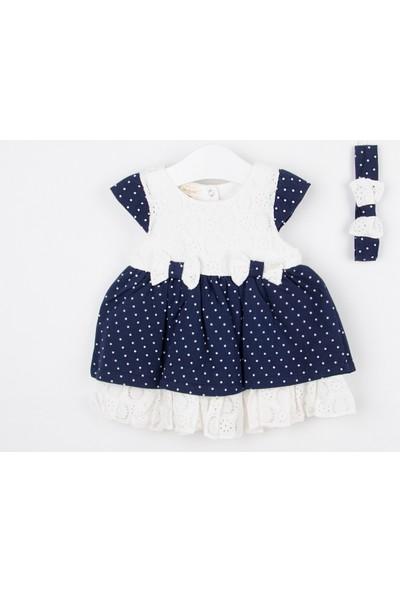 Serkon Kız Bebek Çocuk Dantelli Elbise 2'li Takım 6 - 24 ay Serkon 4330