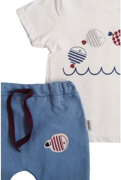 Twetoon Balık Desen Erkek Bebek Şortlu Takım Mavi 9 Ay