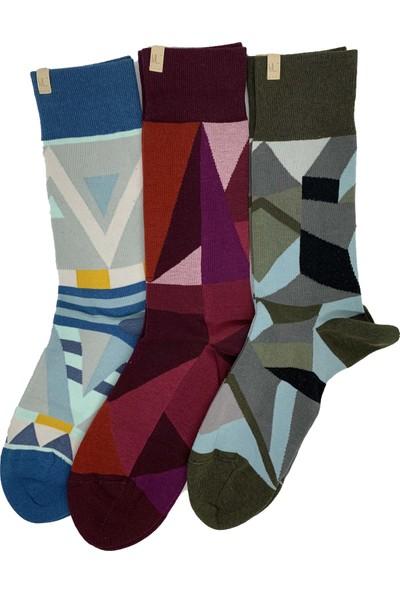 Egs Erkek Geomertrik Desenli Çoraplar 3'lü