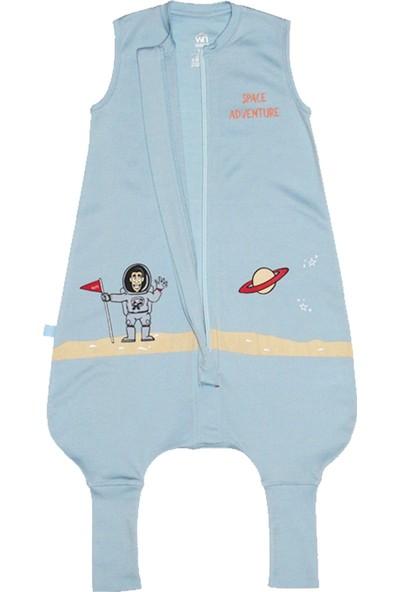 Woolnat Merino Yün Yeni Tek Katlı Uzay Baskılı Kolsuz Çocuk Uyku Tulumu