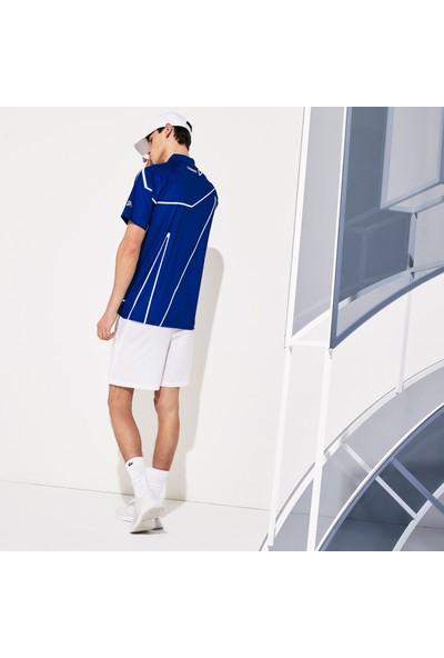 Lacoste Sport Erkek Desenli Saks Mavi - Beyaz Polo DH6235.CSV