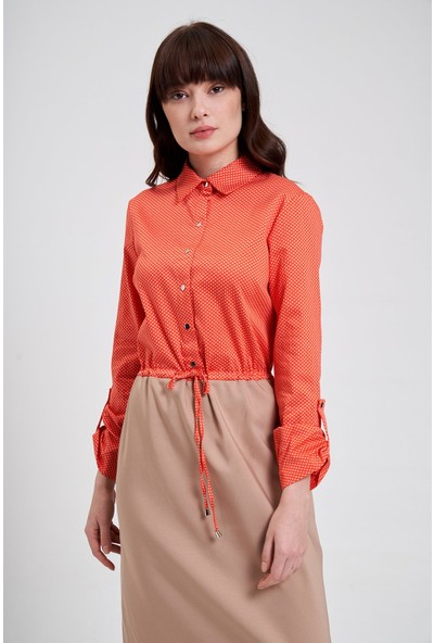 Mizalle Bel Bağcıklı Gömlek Elbise