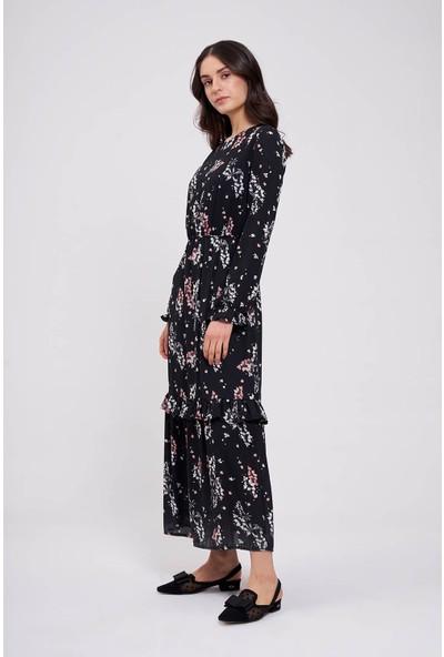 Mizalle Çiçek Desenli Uzun Elbise