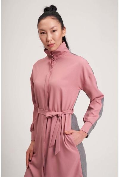 Mizalle Çift Renkli Tunik Elbise