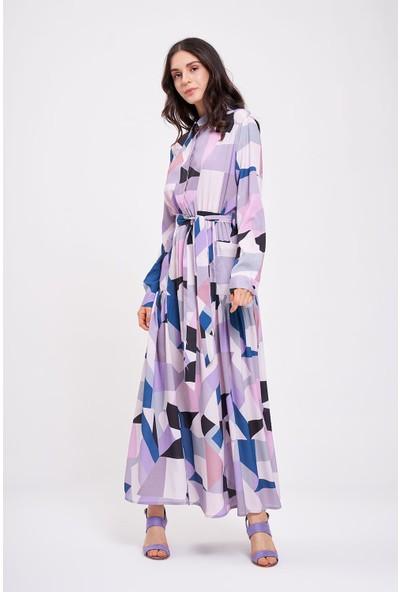 Mizalle Dijital Baskılı Cepli Elbise