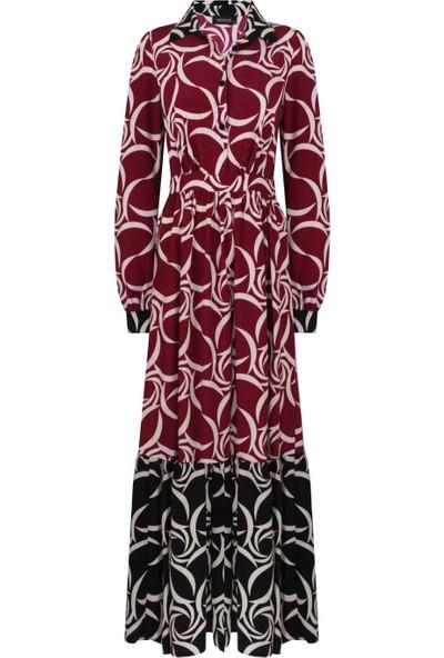 Mizalle Eteği Desenli Uzun Elbise