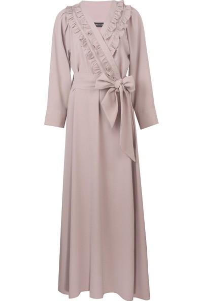 Mizalle Kruvaze Önü Fırfırlı Elbise