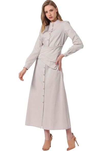 Mizalle Önü Bağlamalı Poplin Elbise