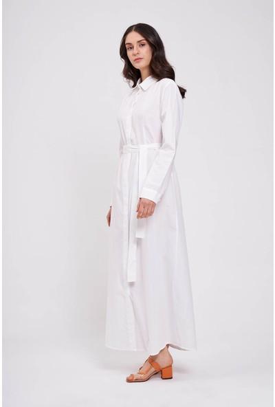 Mizalle Poplin Maxi Gömlek Elbise