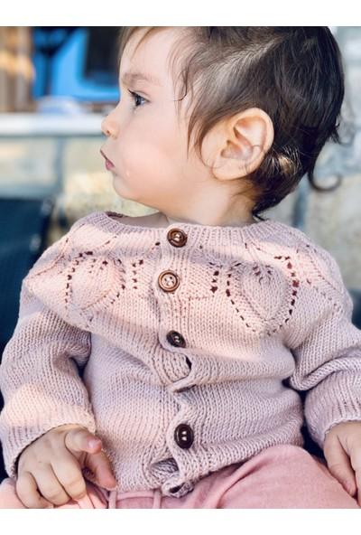 Baboo Pamuk Pembe Kız Bebek Hırkası
