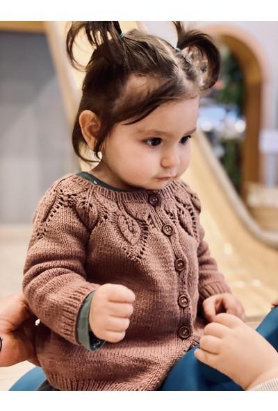 Baboo Pamuk Kahve Kız Bebek Hırkası