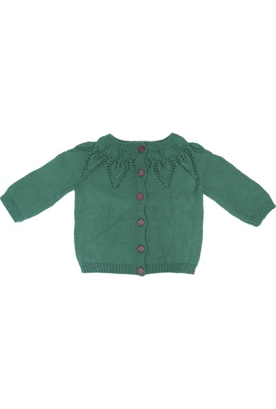 Baboo Pamuk Yeşil Kız Bebek Hırkası
