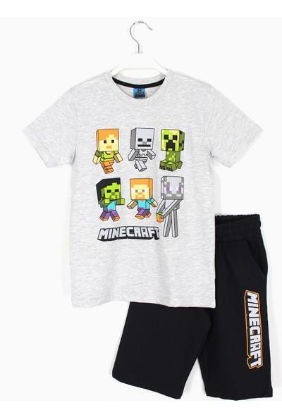 Mojang Erkek Çocuk Minecraft Baskılı Kapri T-Shirt Takım 4 - 11 Yaş Aralığı Gri Siyah