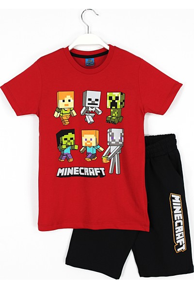 Mojang Erkek Çocuk Minecraft Baskılı Kapri T-Shirt Takım 4 - 11 Yaş Aralığı Kırmızı Siyah