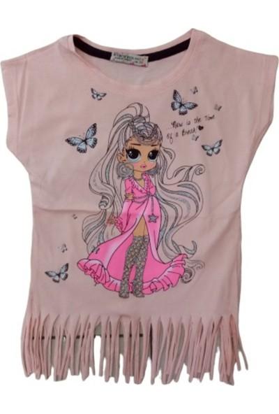 Pıtırcık Kız Çocuk Dar Kalıp Kelebek Desenli Simli Püsküllü Tişört