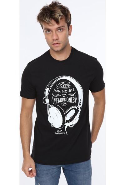 Pointback 5306 Siyah Kulaklık Baskılı T-Shirt