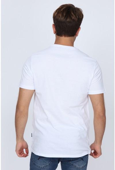 Pointback 5306 Beyaz Kulaklık Baskılı T-Shirt