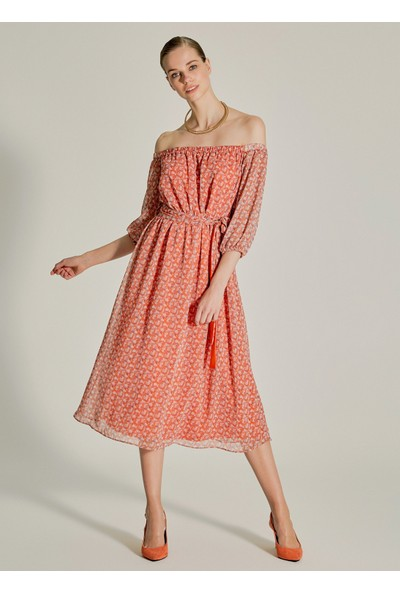 Ngstyle Kadın Çiçek Desenli Carmen Yaka Elbise