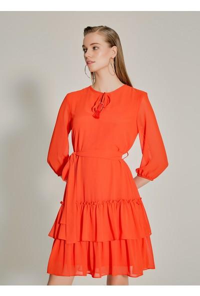 Ngstyle Kadın Eteği Fırfırlı Şifon Elbise