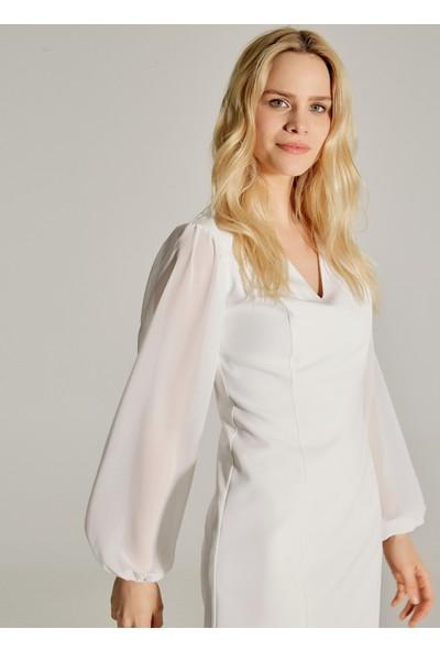 Ngstyle Kadın Kolları Şifonlu Balon Kol Elbise