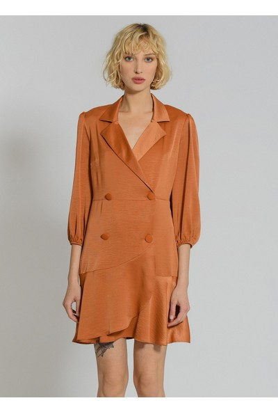 People By Fabrika Kadın Kruvaze Volanlı Elbise