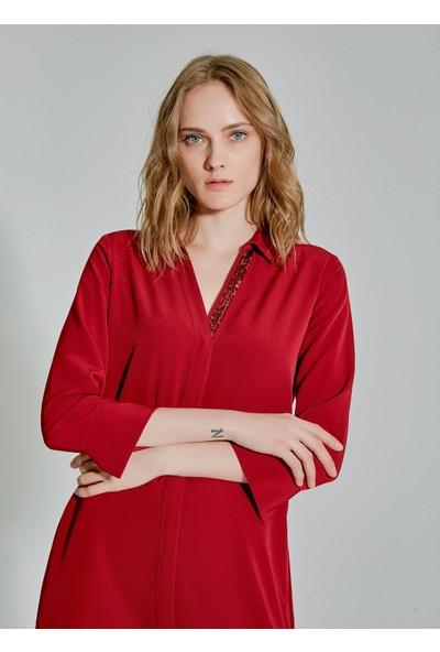People By Fabrika Kadın Yaka Detaylı Kuşaklı Gömlek Elbise