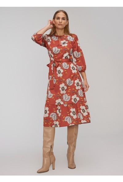People By Fabrika Kadın Yakada Düğme Detaylı Bağlamalı Elbise