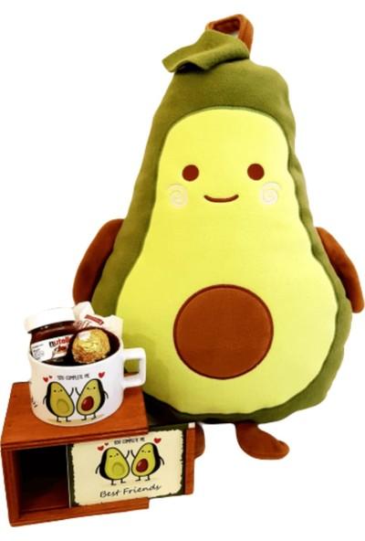 Hanbeyi Sevgiliye Avokado Yastığı ve Kupası Gül Kutulu Çikolata Set