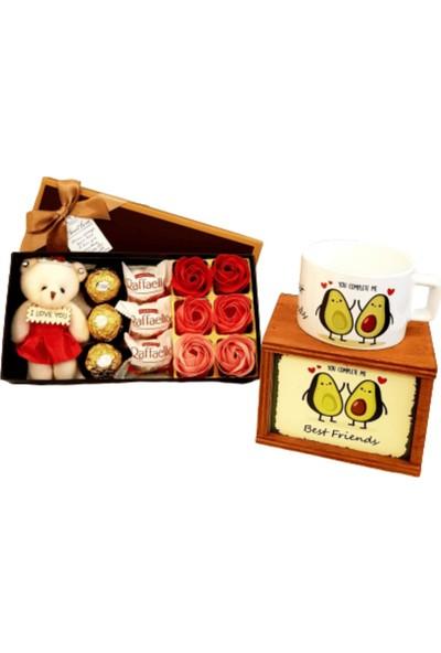 Hanbeyi Best Friends Avokado Kutulu Kupa Gül Karışık Çikolata Set