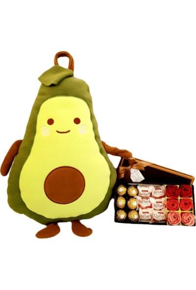 Hanbeyi Sevgiliye Avokado Yastık ve Kupası Çikolata Set
