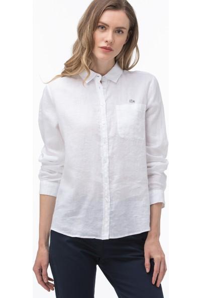 Lacoste Kadın Beyaz Keten Gömlek CF0054.54A