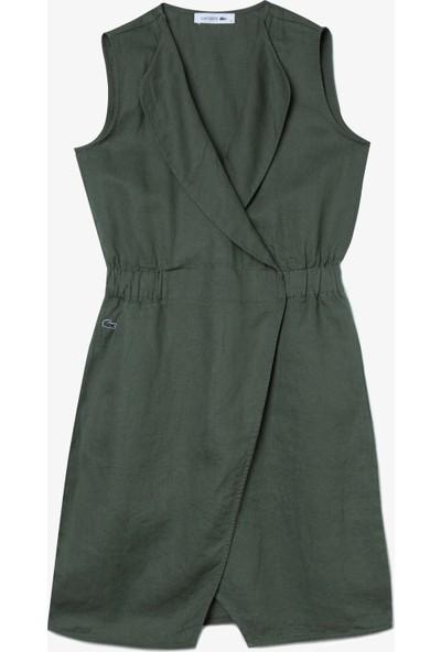 Lacoste Kadın Kruvaze Kolsuz Haki Keten Elbise EF0011.11H