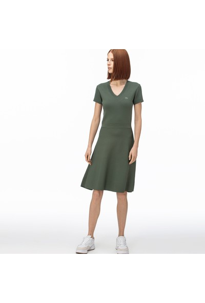 Lacoste Kadın V Yaka Kısa Kollu Haki Elbise EF0059.59H