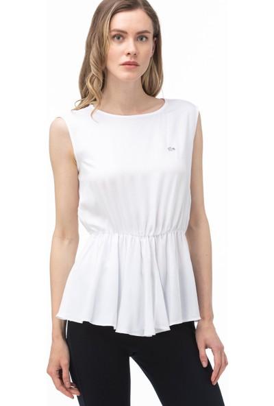 Lacoste Kadın Bisiklet Yaka Kolsuz Beyaz Bluz QF0007.07A