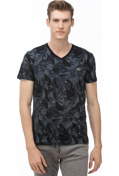 Lacoste Erkek V Yaka Desenli Siyah T-Shirt TH0018.18S