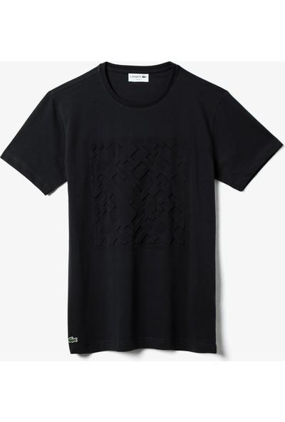 Lacoste Erkek Bisiklet Yaka Baskılı Siyah T-Shirt TH0057.57S