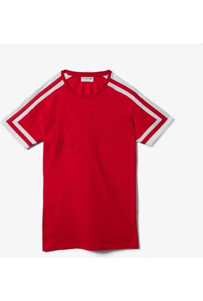 Lacoste Erkek Bisiklet Yaka Blok Desenli Baskılı Kırmızı T-Shirt TH0058.58R