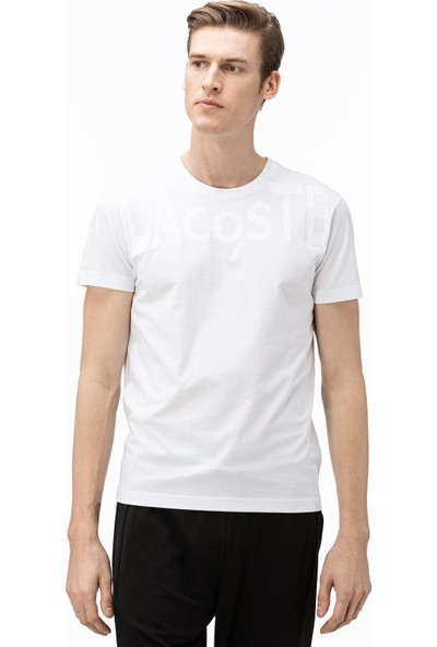 Lacoste Erkek Bisiklet Yaka Baskılı Beyaz T-Shirt TH0063.63A