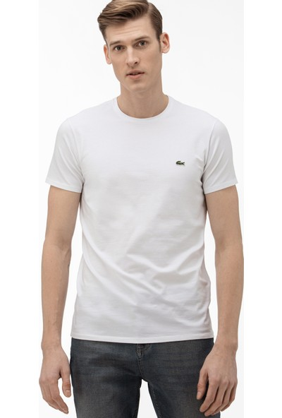 Lacoste Erkek Bisiklet Yaka Beyaz T-Shirt TH0998.001