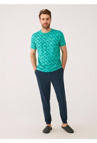 Dagi Erkek Yeşil O Yaka Pamuk Palmiye Empirme Altı Ribana Erkek Kısa Kol Pijama Takımı