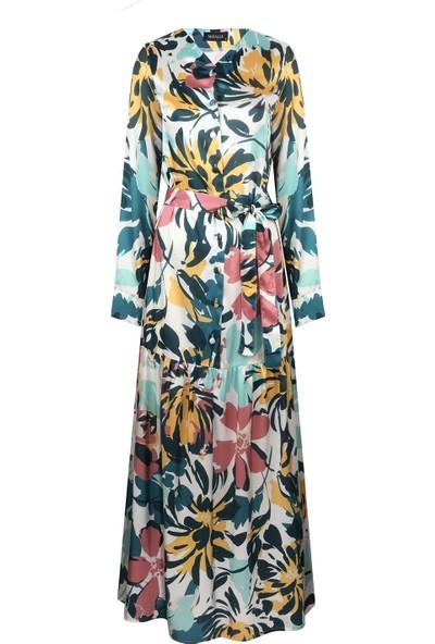 Mizalle Düğmeli Çiçek Desenli Elbise Renkli