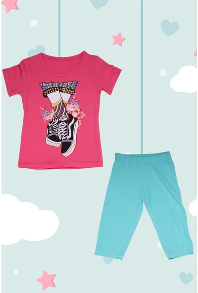 Yusufçuk Konvers Baskılı Taytlı 2'li Kız Çocuk Pijama Takımı
