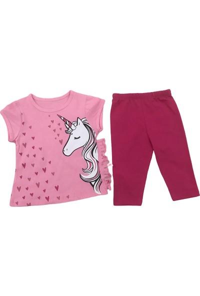 Mini Baby Kız Bebek Unicorn Ikili Yazlık Alt Üst Takım