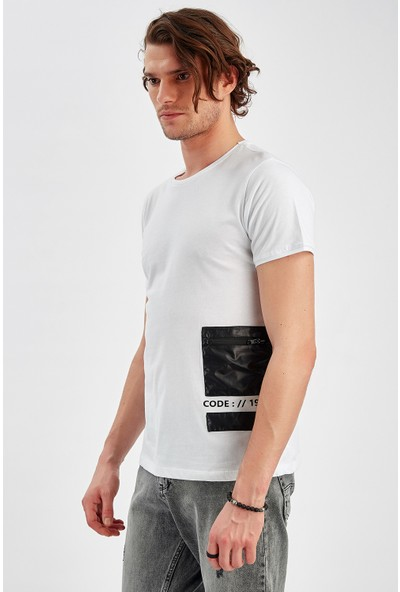 Manche Beyaz Erkek T-Shirt