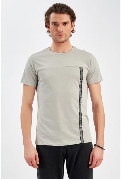 Manche Gri Erkek T-Shirt