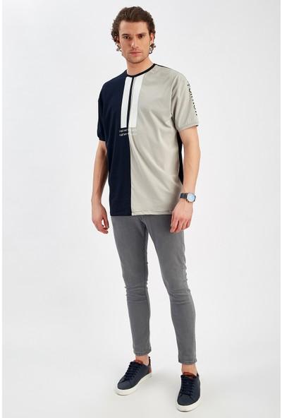Manche Lacivert Erkek Oversize Baskılı T-Shirt