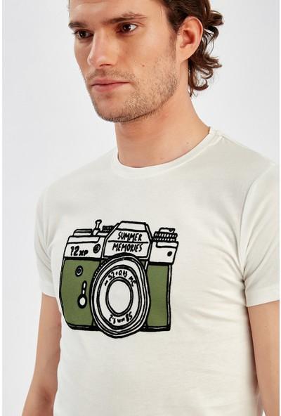Manche Ekru Erkek Flok Baskılı T-Shirt