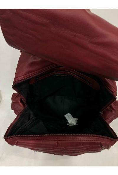 Elizabell Salaş Büyük Boy Yıkanmış Deri Sırt Çantası Ebat 40 cm 35 cm Bordo