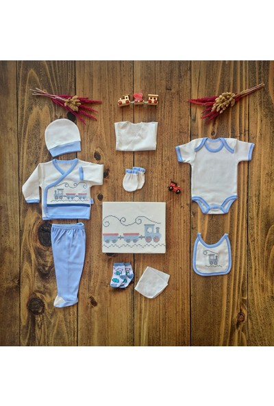İpeksi Baby Kanaviçe Tren Işlemeli 10 Parça Zıbın Seti Mavi 0-3 Ay